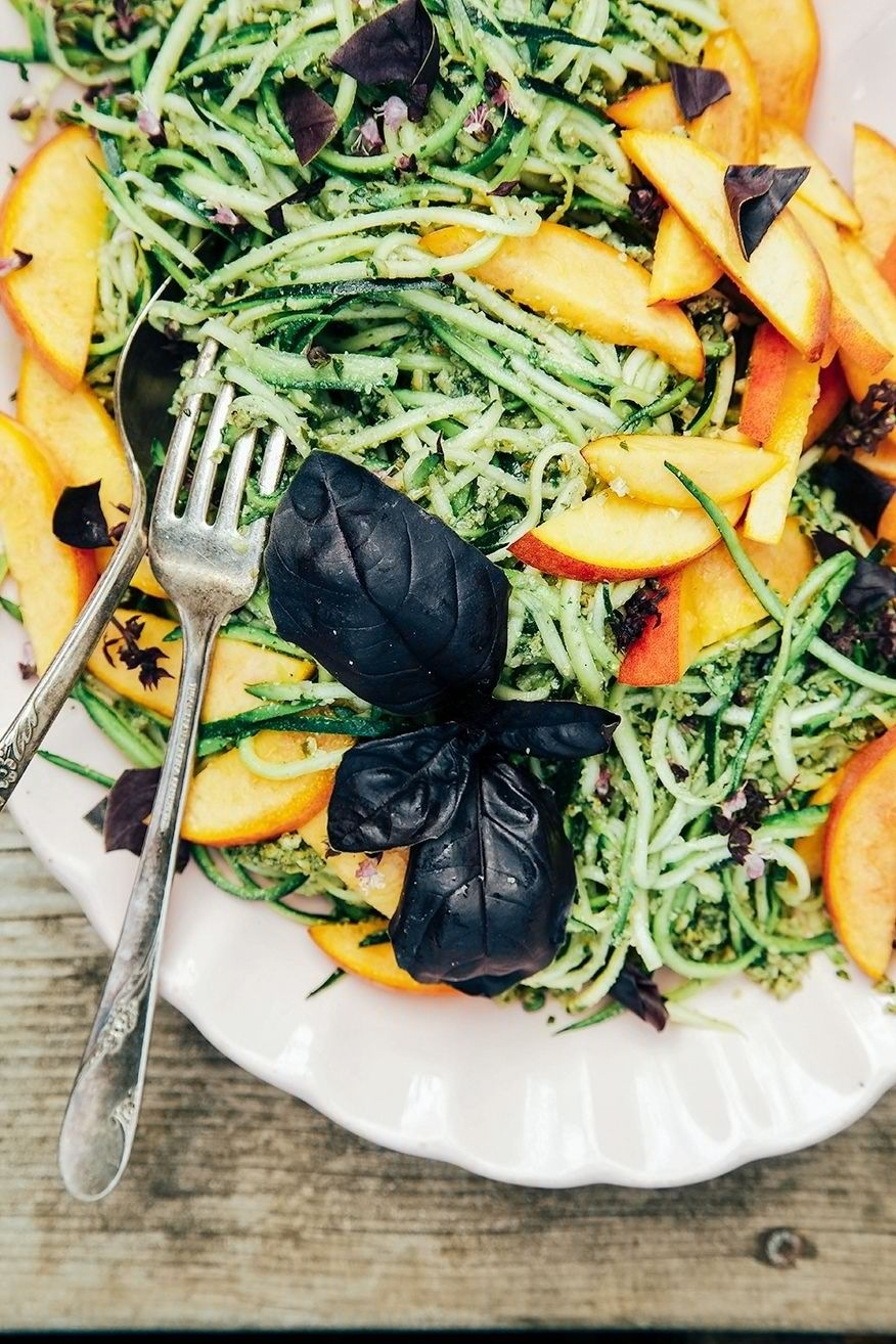 Zucchini Spaghetti with Pumpkin Seed Pesto +Peaches